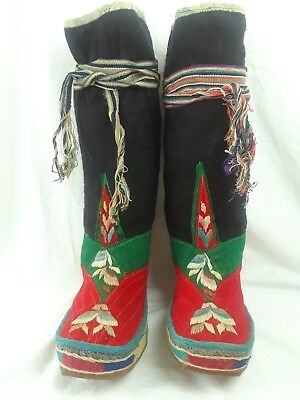 Rare Authentic Antique Tibetan Boots With Ties Hand Made Wool And Leather  Boots