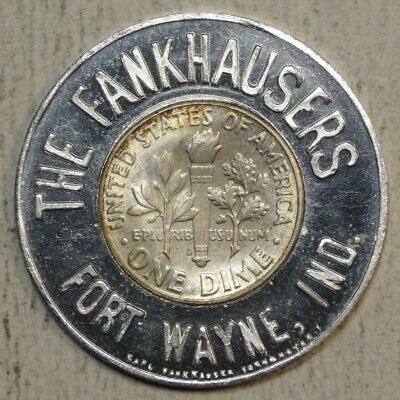 Encased 1964-D Roosevelt Dime, The Fankhausers, Ft. Wayne, IN, Uncirculated  -25