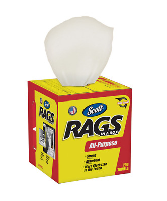 """Scott Rags in a Box Paper Cleaning Cloth 12"""" x 10"""" 200 ct Durable Portable Box"""