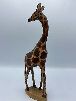 """12"""" TALL Giraffe Hand Carved Exotic Wood Mod Century Modern Large Africa MCM"""