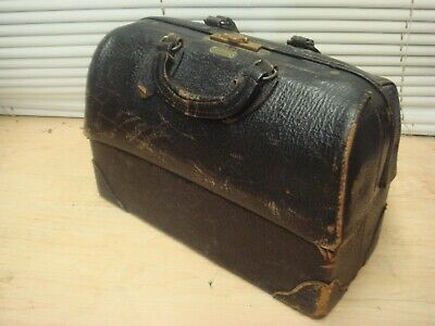 Antique Doctor Bag Emdee Schell c30's Leather Brass Dual Flap VG+Deal!