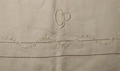 "Rare Hemstched Irish Linen Appenzell or Madeira Embroidered Duvet Cover 99""- 59"""