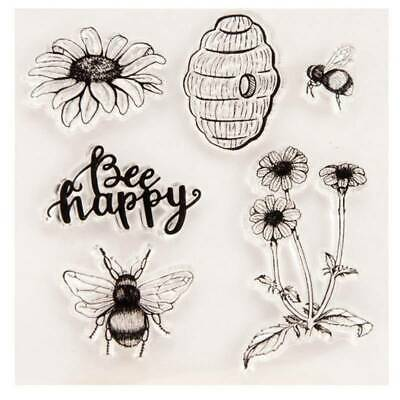 Bee Happy Silicone Clear Stamp Transparent Rubber Stamps DIY@yuan