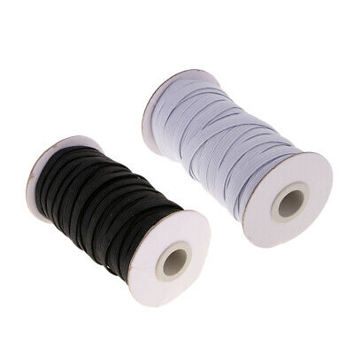 2 Rolls 8mm Stretch Cord Flat Sewing Bungee Band for Sport Pants Dressmaking