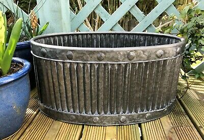 Large French Vintage Style Galvanised Metal Oval Dolly Tub Garden Planter Trough