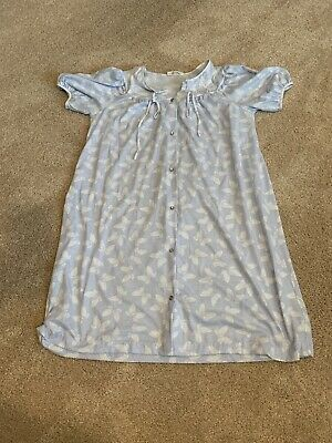 Duster Robe Housecoat Snap Front Blue Butterfly House Dress Size Large (JL)