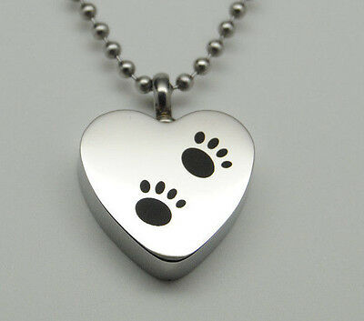 Cute Paw Heart Urn Necklace, Holds Dog or Cat Ashes, Engraveable Pet Keepsake