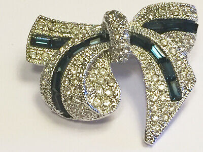 BROOCH Diamante Bow with Navy Blue Beads