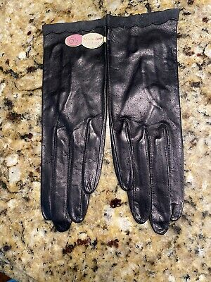 Vintage Ladies' GRANDOE Size 6 1/2 Black Leather Driving Gloves New With Tags