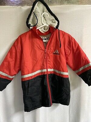 Vintage adidas Windbreaker Sherpa Lined Jacket Kom Fit Zip Up Red Size 8 Kids L
