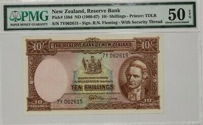 1960-67 NEW ZEALAND RESERVE BANK 10 SHILLINGS PMG 50 ABOUT UNC PICK# 158d (013)