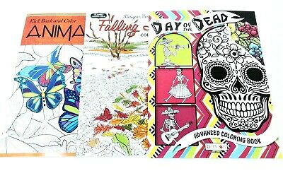 3 Adult Coloring Books set lot #184 ~ Animals vol 3 ~ Leaves ~ Day Of The Dead
