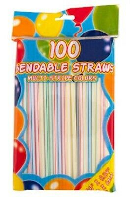 *US Seller* 100 count Flexible Plastic Drinking Straws Multi Colors Fast Ship