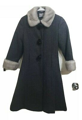 ROTHSCHILD Girls Stunning Gray Black Cream Faux Fur Blend Coat Size 10