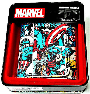 Marvel Comics Classic Captain America Trifold Wallet & Collectors Tin NEW
