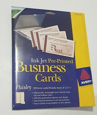 Avery Inkjet Pre-Printed Business Cards Paisley 250 Cards High Quality 26550
