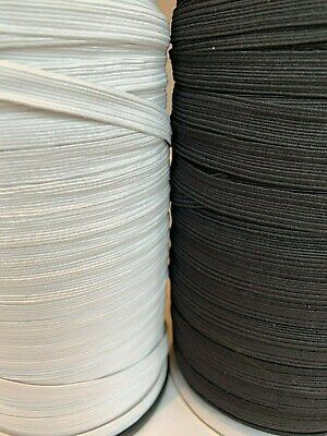 Black/White 10mm Flat 12 cord Elastic ribbon Sewing, Craft, Dressmaking, Masks