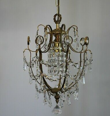 Very Pretty Vintage Birdcage Glass Crystal Chandelier