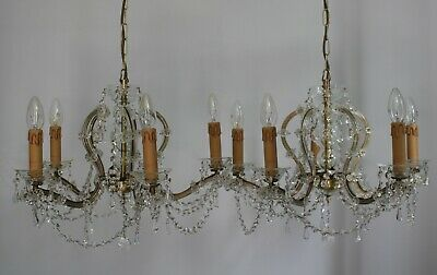 Pair Of Vintage Birdcage Glass Crystal 5 Arm Chandeliers