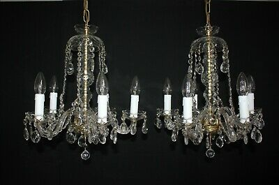 Pair Of Vintage Bohemian All Glass Crystal 5 Arm Chandeliers