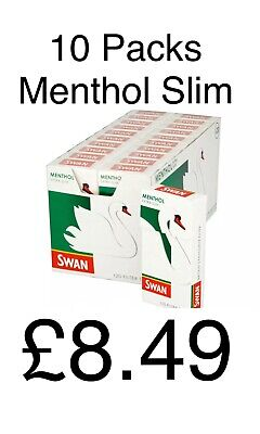 10 x SWAN MENTHOL EXTRA SLIM FILTER TIPS 5mm PRE-CUT CIGARETTE TOBACCO