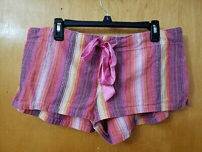 Victoria's Secret PINK Womens Lounge Shorts Large EUC! Pajama Boxers Striped