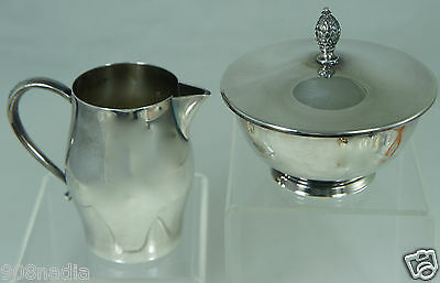 Vintage Silver Plate Creamer & Sugar Bowl Set Rogers Paul Revere Repro