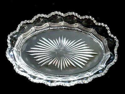 antique EAPG clear glass HEISEY PEERLESS #300 oval CELERY TRAY scallop 1899