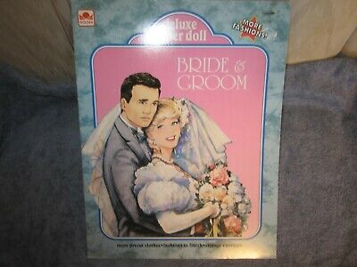 uncut  deluxe bride and groom paper doll
