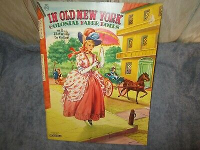 uncut  in old new york colonial paper dolls with pictures to color