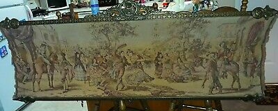 "Large Antique Framed Flemish Tapestry Wall Hanging - 59"", Ornate Original Frame"