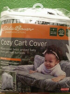 New Eddie Bauer Comfy Cart Cover & High Chair Cover, Gray/White