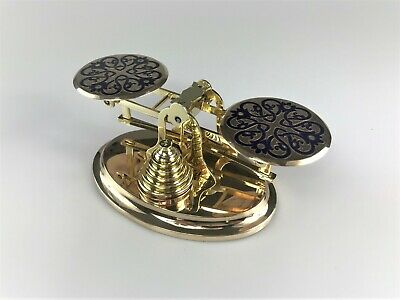 Antique Victorian Brass Champleve Postal Letter Balance Scales and Weights
