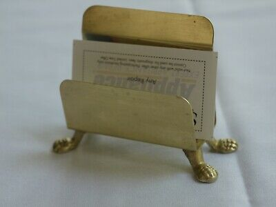 Vintage CLAW FOOTED BRASS BUSINESS CARD HOLDER,