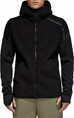 Adidas Z.N.E HD Triple Black Full Zip Hood Hoodie Sherpa Jacket Bomber M L Mens