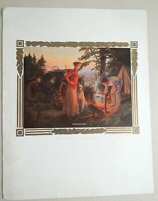 Antique 1912 Print Camping Couple W/ Dog w/ Classic Roadster Automobile