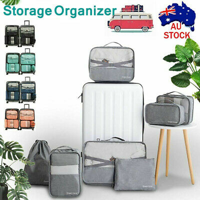 7Pcs Packing Cubes Travel Pouches Organiser Clothes Suitcase Storage Bag