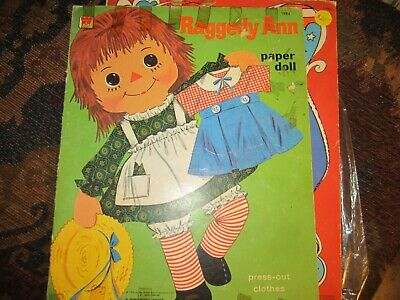 cutout and 1970 raggedy ann paper doll and  fashions