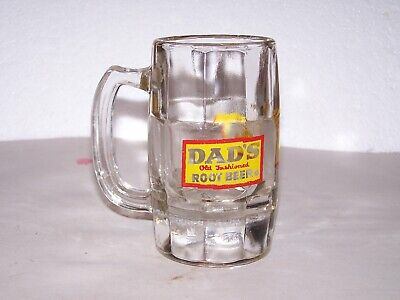Vintage clear glass heavy Dad's Old Fashioned Root Beer mug yellow red logo