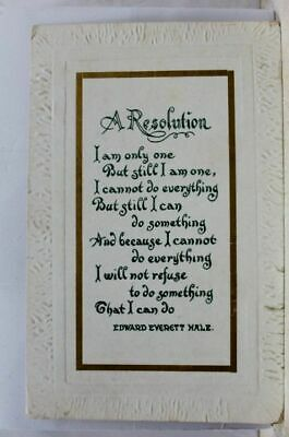 Greetings A Resolution Edward Everett Hale Postcard Old Vintage Card View Post