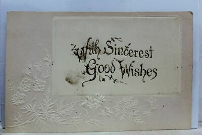 Greetings With Sincerest Good Wishes Postcard Old Vintage Card View Standard PC