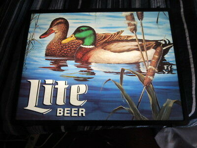 Miller Lite Beer Sign Light Up Lake Scene W/ Mallard Duck Nice Bar Pub Game Room