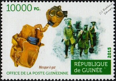 WWI 2nd Battle of YPRES British Army Soldiers & Gas Mask Stamp (2015 Guinea)