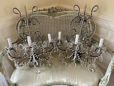 Antique Vintage Crystal Macaroni Beaded Extra Large Wall Chandelier Sconces Pair
