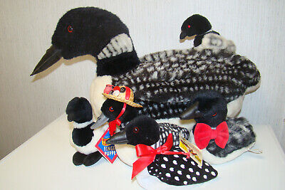 Lot of PLUSH STUFFED LOONS 2 FINGER PUPPETS BEAN BAG & SMITHSONIAN Sound LOON