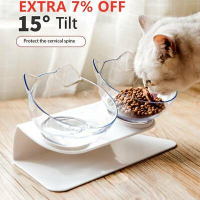 Pet Food Double Bowl Stand Cat Dog Water Feeding Bowl Raised Elevated Angle