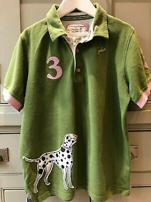 Joules girls Jnr Pooch Polo Dalmation dog polo shirt age 11-12 excellent cond