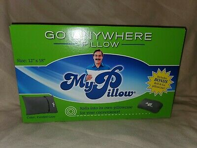 My Pillow TRAVEL PILLOW And CASE Roll N Go - Go Anywhere Frosted Gray  - SEALED