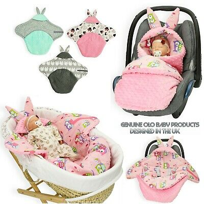 Bunny Ears Swaddling Blanket cotton & minky fit Maxi COSI Universal car seats