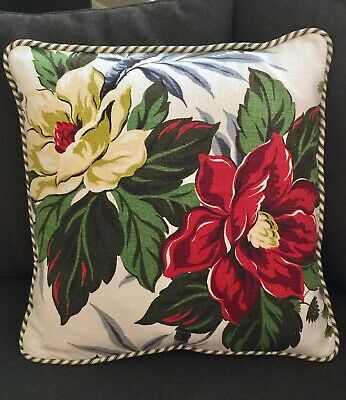 "Vintage ""Nubby"" BARKCLOTH Fabric New 20"" PILLOW (& INSERT) Big Flowers on Ivory"